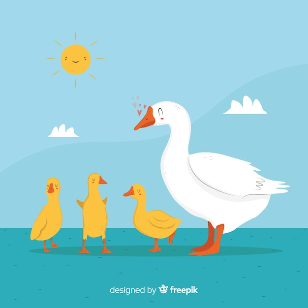 White duck and yellow cute ducklings outside Free Vector