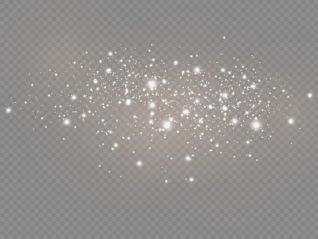 The white dust sparks and star shine with special light, christmas spakle light effect, sparkling magic dust particles isolated on transparent background, shine lights, sparkle Premium Vector