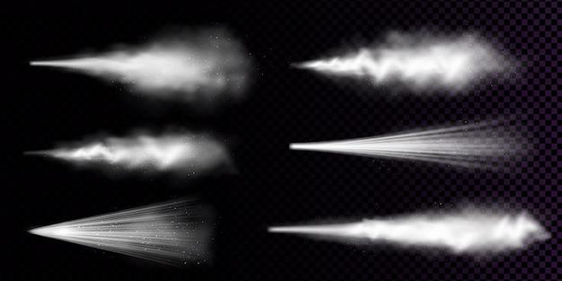 Белый спрей пыли, изолированные на прозрачном фоне. реалистичный набор дыма или порошка с брызгами частиц от аэрозоля, струи распыляемой косметики, отдушки или дезодоранта Бесплатные векторы