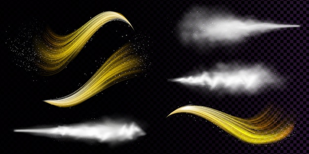 White dust spray and wavy flows of golden powder isolated on transparent background Free Vector
