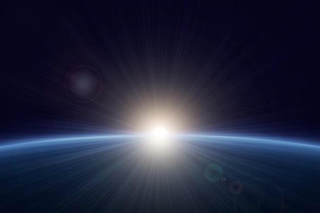 White earth sunrise light effect Premium Vector