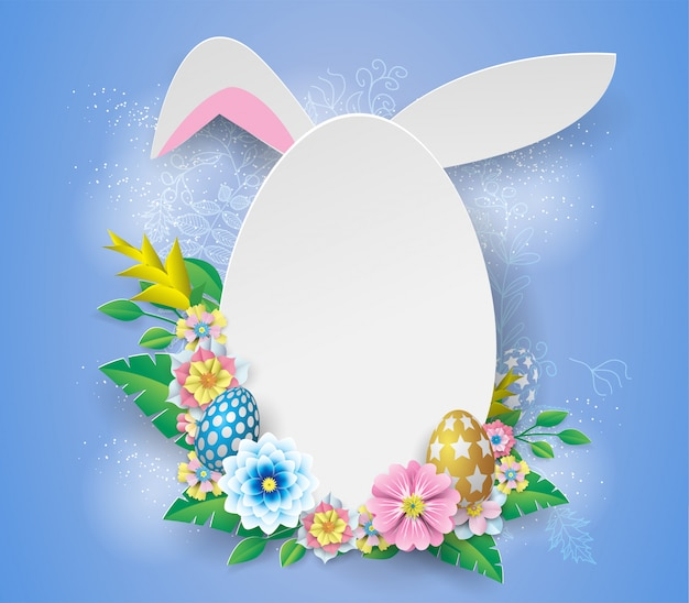 White easter   frame with paper flower on blue background Premium Vector