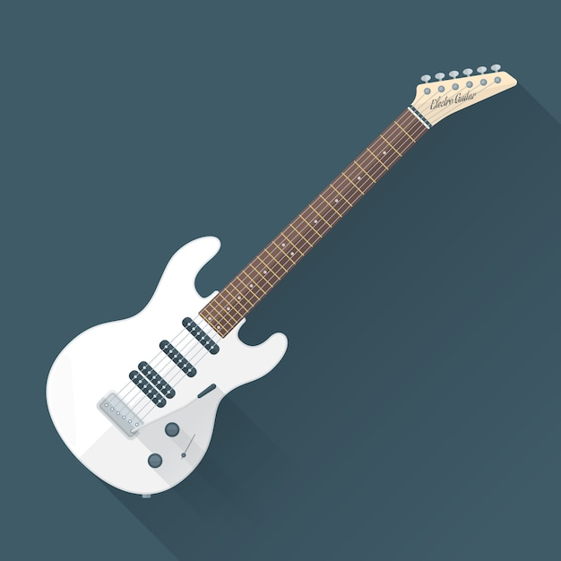 white electric guitar with shadows vector premium download. Black Bedroom Furniture Sets. Home Design Ideas