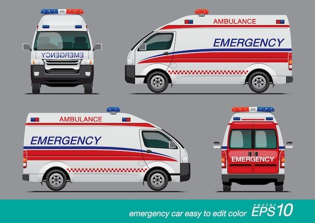 White emergency van Premium Vector