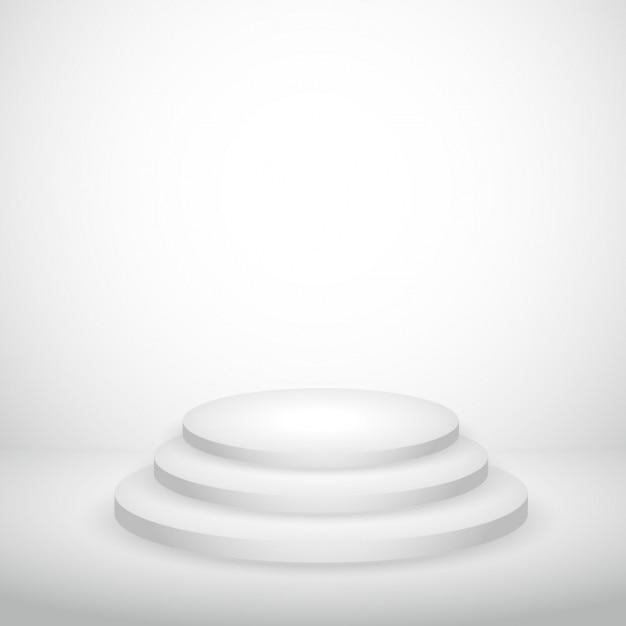 White Studio Background With Podium: White Empty Background With Podium Vector