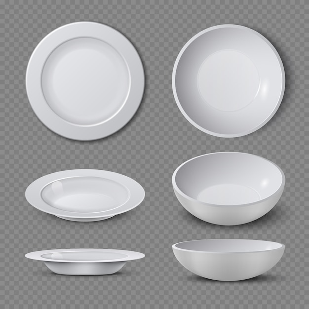 White empty ceramic plate in different points of view isolated vector illustration. plate and dish clean for kitchen, porcelain dishware Premium Vector