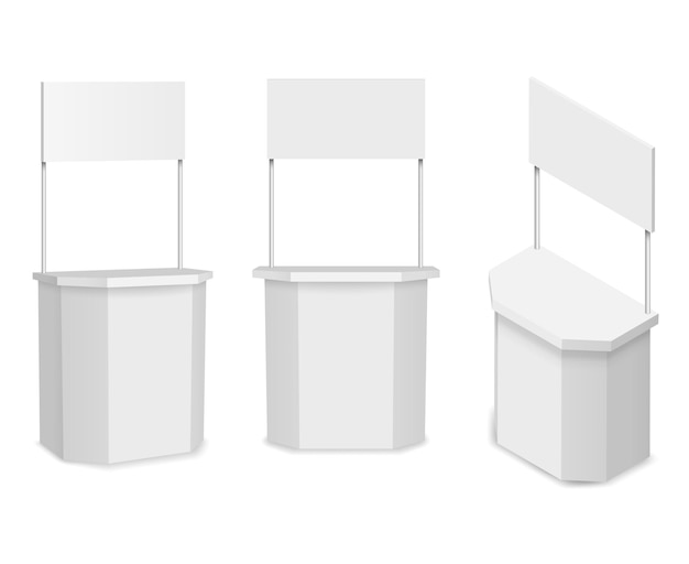 흰색 빈 프로모션 스탠드 또는 프로모션 카운터. 상업 상점 및 소매, 일러스트레이션 무료 벡터