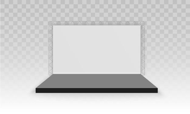 흰색 빈 프로모션 3d 전시 부스 프리미엄 벡터