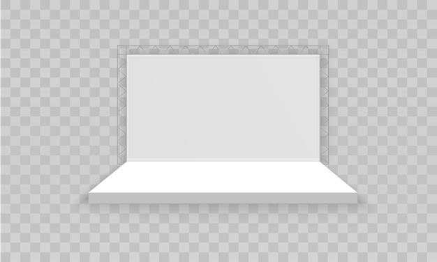 흰색 빈 홍보 3d 전시 부스. 프리미엄 벡터