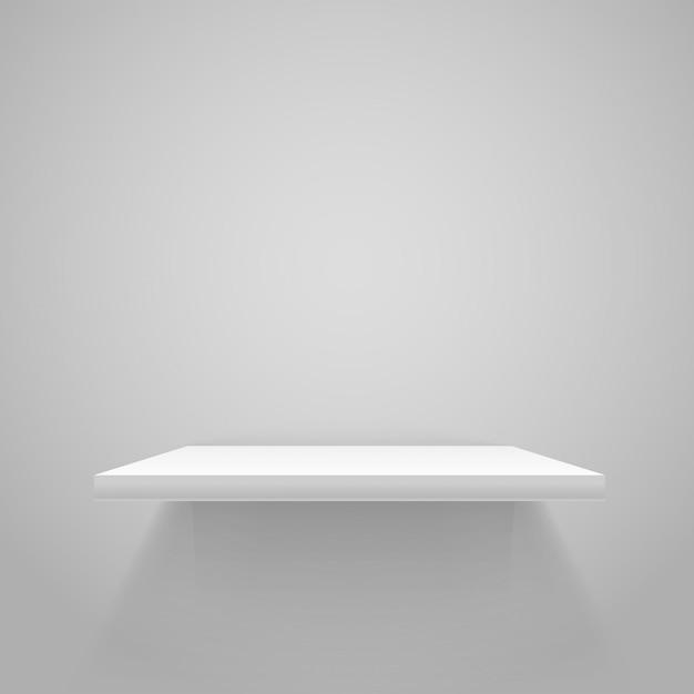 White empty shelf on grey wall. vector mockup Premium Vector