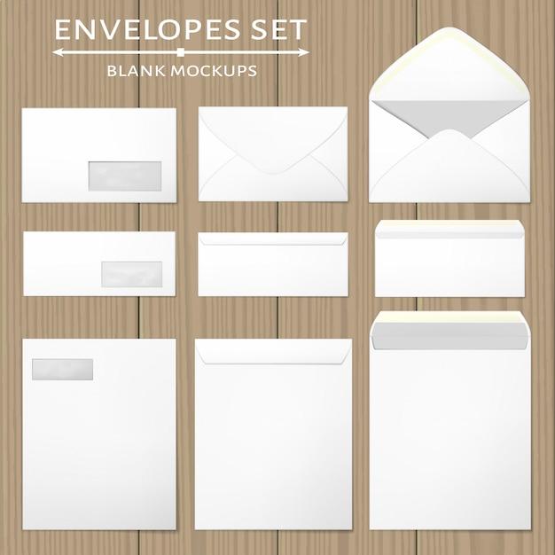 Набор белых конвертов. Premium векторы