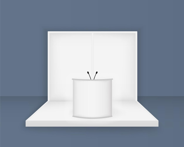 흰색 전시 스탠드, 조명 3d 빈 부스 템플릿 프리미엄 벡터