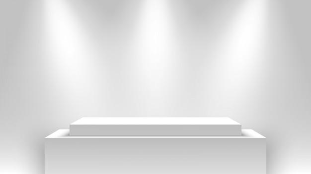 Белый выставочный стенд, освещенный прожекторами. подиум. пьедестал. Premium векторы