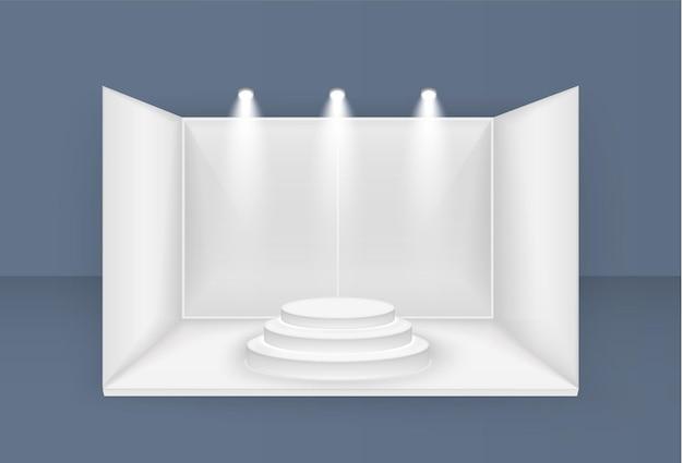 스포트라이트가있는 흰색 전시 스탠드 전면보기 프레젠테이션 이벤트 룸 디스플레이 프리미엄 벡터
