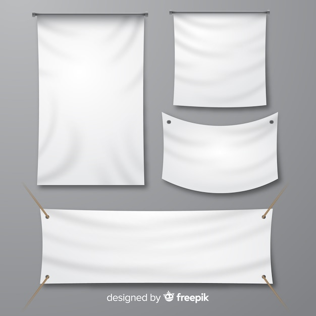 White fabric banner collection Free Vector