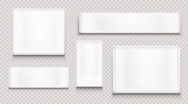 White fabric tags, cloth labels different shapes Free Vector