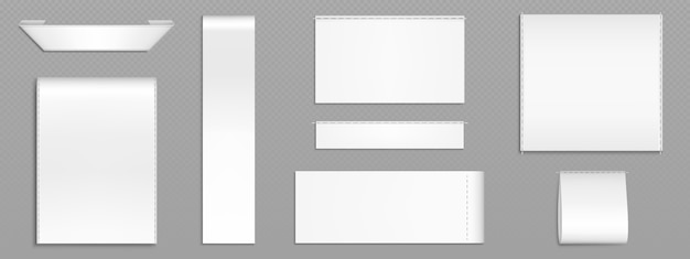White fabric tags, cloth labels for textile Free Vector