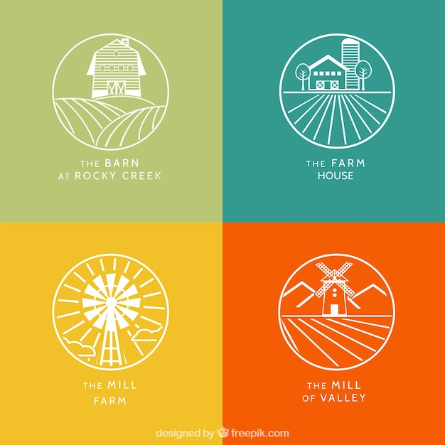 White farm logotypes  with outline Free Vector