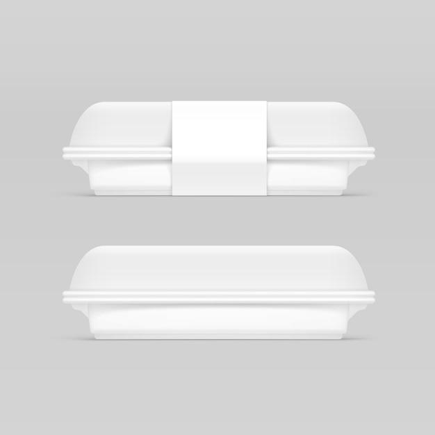 Белый фастфуд коробка контейнер упаковка пакет упаковка пакет Premium векторы