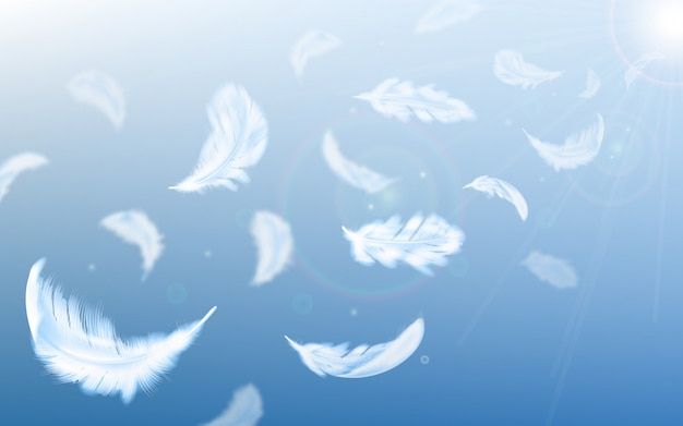 White feathers fly in air on blue sky illustration Free Vector