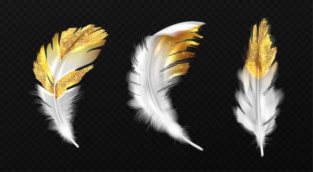 가장자리에 금색 반짝이가있는 흰색 깃털 무료 벡터