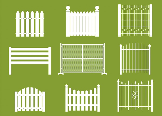 White fences vector flat set isolated on background. Premium Vector