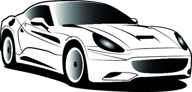 White ferrari cartoon icon vector Vector