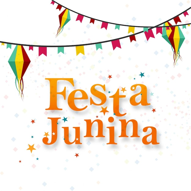 White festa junina design with garlands Free Vector