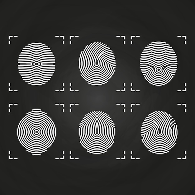 White fingerprints icons collection on chalkboard Premium Vector