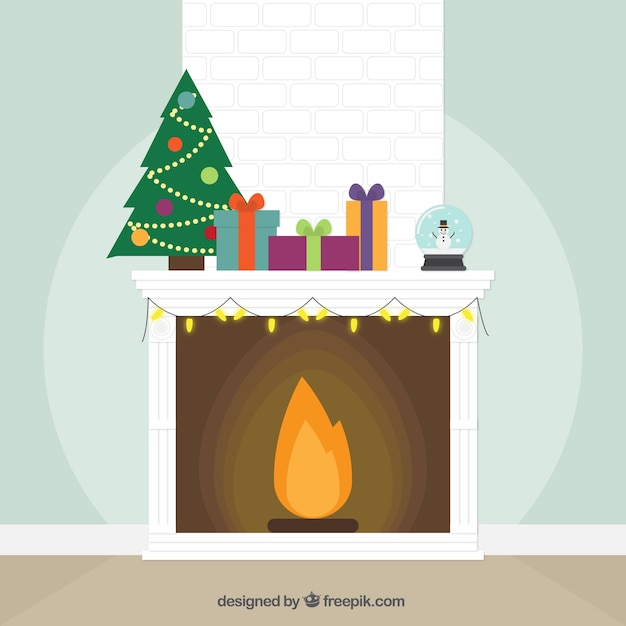 White fireplace background with christmas ornaments