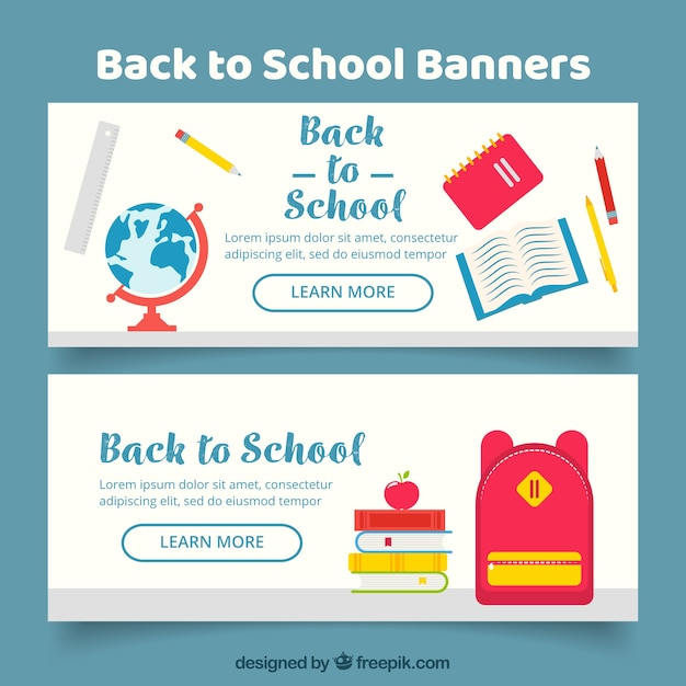 White flat back to school banners