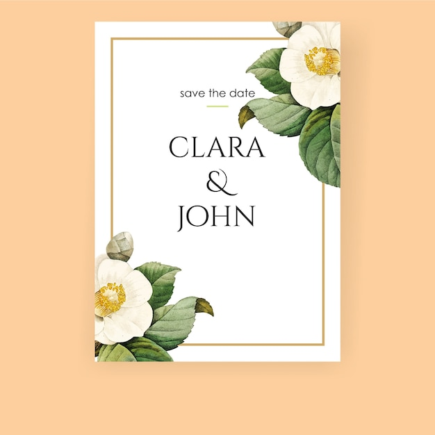 White floral invitation with realistic flower Premium Vector