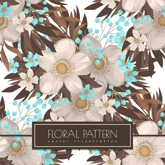 White flower background seamless pattern Free Vector