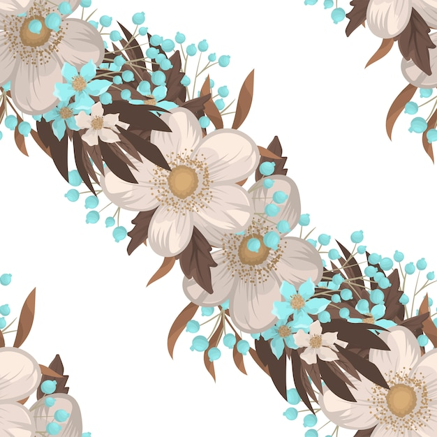 White flower background seamless pattern Premium Vector
