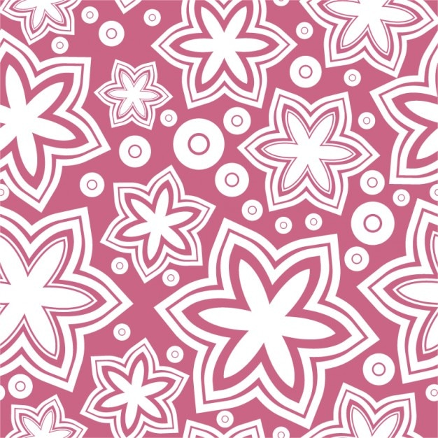 white flowers on pink background girly pattern free vector