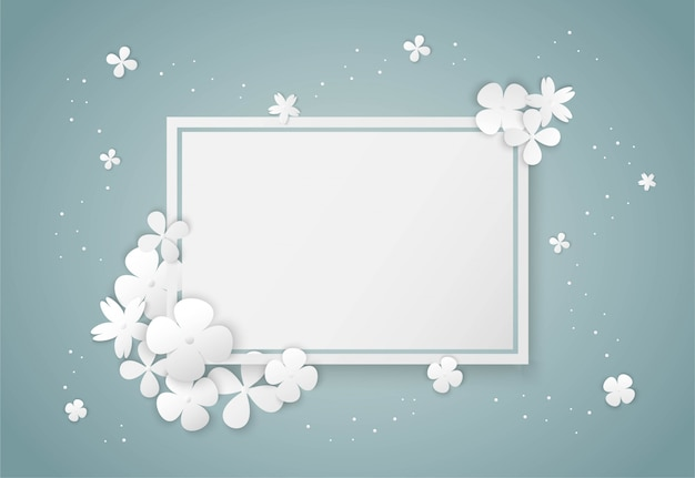 White flowers paper art and square frame Premium Vector