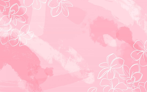 White flowers on watercolor background Free Vector