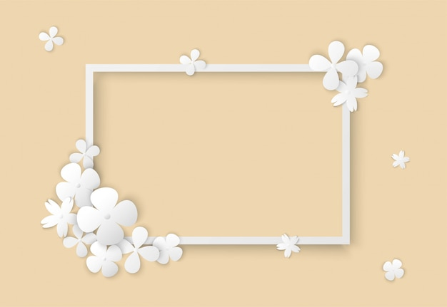 White flowers with square frame Premium Vector