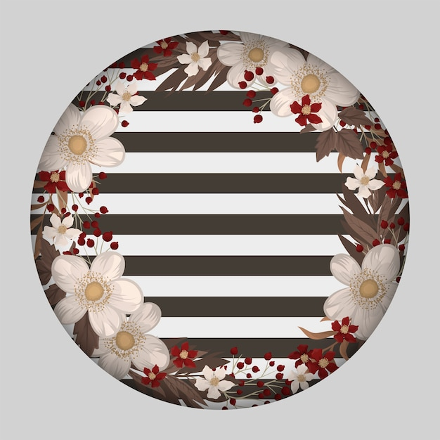 White flowers wreath with stripes Free Vector
