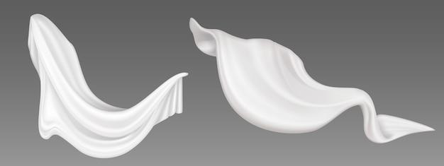 白いフライ生地、折りたたまれたフライングクロス、柔らかく流れるサテン素材、軽量で透明なカーテン。抽象的な装飾的な織物または灰色の背景に分離されたカーテン。リアルな3 dイラスト 無料ベクター