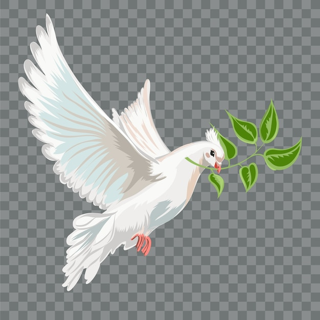 White flying dove with branch. Premium Vector