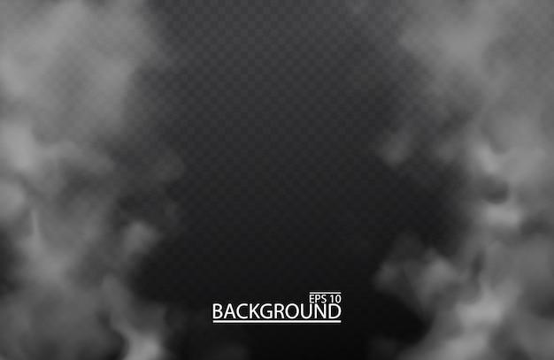 Белый туман или дым на изолированных прозрачном фоне. смог, облачное небо. Premium векторы