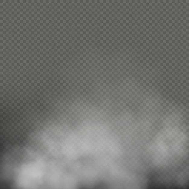 Белый туман, дым или туман на прозрачном фоне. спецэффектная композиция. Premium векторы