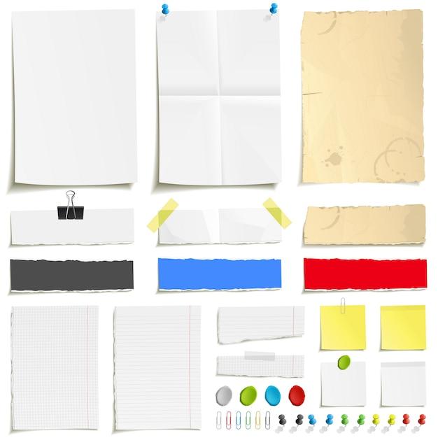 白い折られた紙、汚れた古い紙、不規則な紙、空白の四角い罫線付きのメモ帳ページ、および紙を取り付けるための要素。ピン、プラスチシン、スコッチテープ、クリップセット Premiumベクター