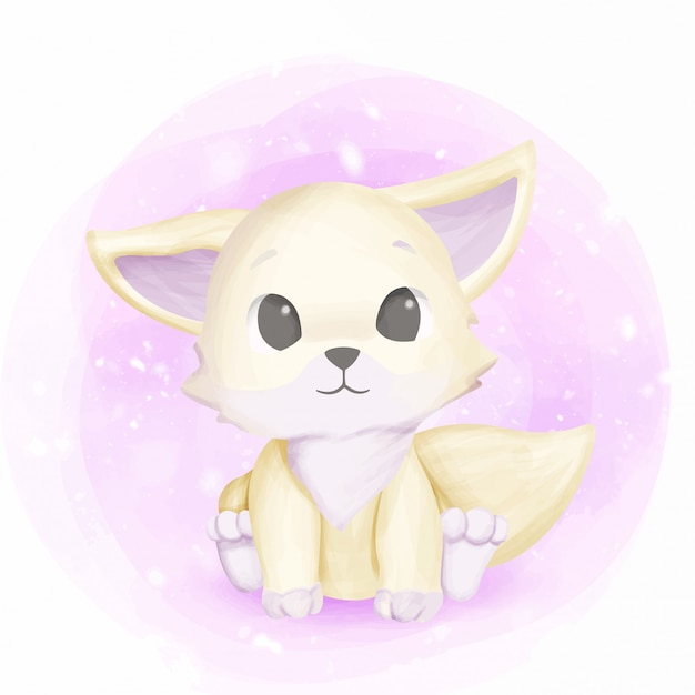 White foxy baby adorable and cute Premium Vector