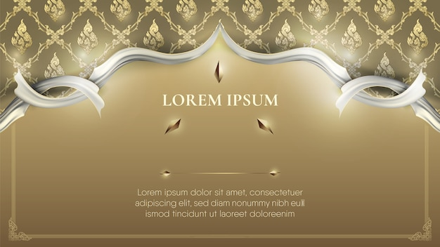 White frame on abstract traditional gold thai decoration background Premium Vector