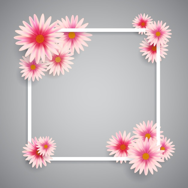 White frame with pink flowers Free Vector