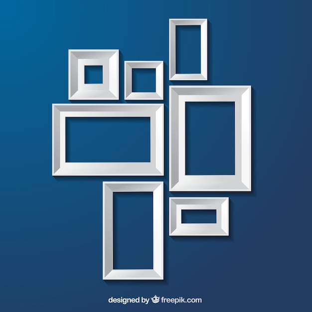 White frames on blue background Vector | Premium Download