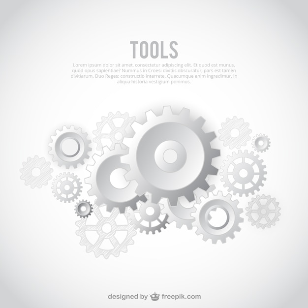 white gears background template vector free download