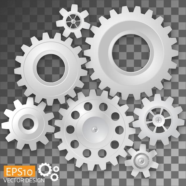 White gears Premium Vector